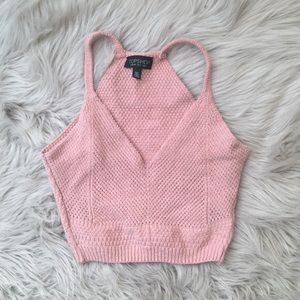 Topshop Pink Knit Crop Top